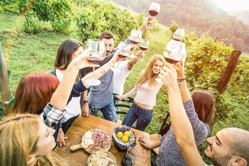 Degustácia vína vo vinohrade